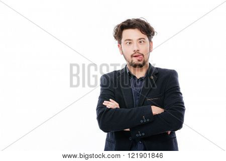 Businessman making funny face isolated on a white background