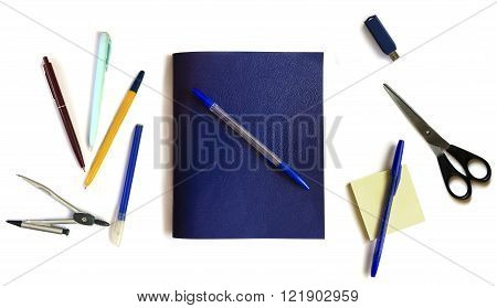 School supplies objects, schoolchild and student studies accessories. Back to school concept.