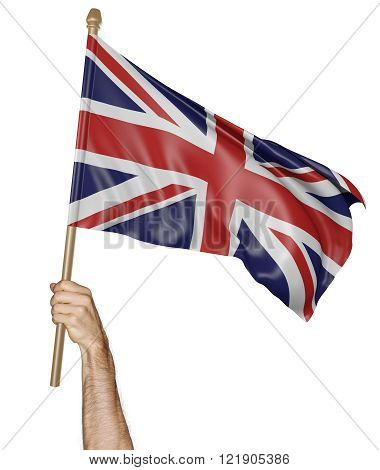 Hand proudly waving the national flag of United Kingdom