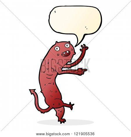 cartoon gross little monster with speech bubble