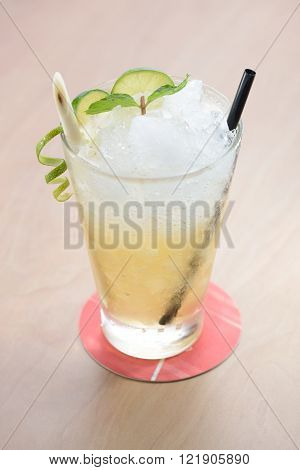 Lemongrass lime fruit juice with mint leaf