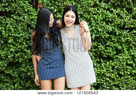 Two Happy And Lively Female Best Friends Having A Good Time Together - Friendship And Fun Time Conce