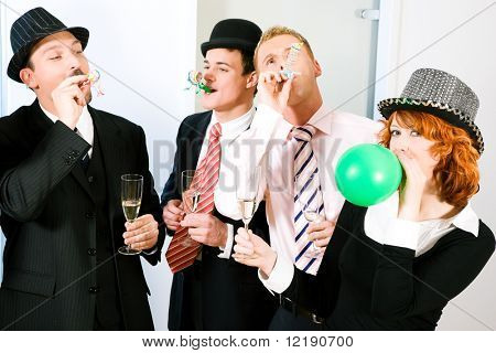 Group of people having a rather bizarre party