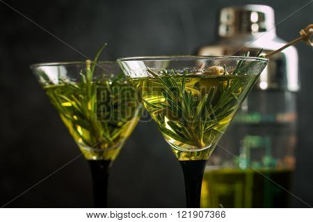 Two Fresh Green Cocktails