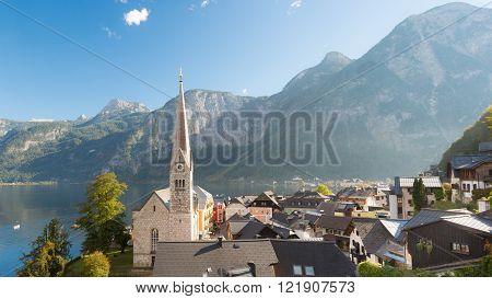 Hallstatt village in Austria on a beautiful day in autumn