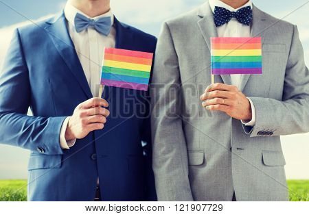 people, homosexuality, same-sex marriage and love concept - close up of happy male gay couple in suits and bow-ties with wedding rings holding rainbow flags over blue sky and grass background