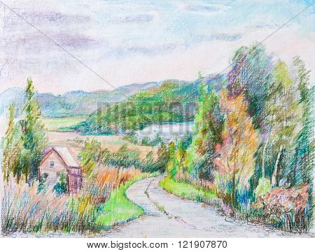 Rural road in the hills. Beginning of autumn