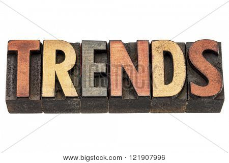 trends word  - isolated text in vintage letterpress wood type printing block stained by color inks