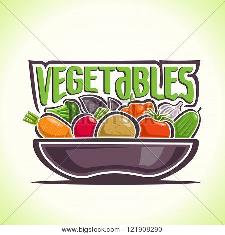 Vector illustration on the theme of the logo for vegetables, consisting of gray dish, filled with fresh ripe vegetables: carrots, radish, potato, tomato, cucumber, pepper and garlic