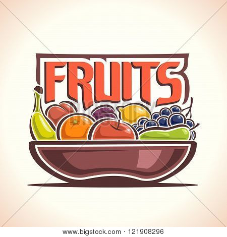 Vector illustration on the theme of the logo for fruits, consisting of brown dish, filled with fresh ripe fruits: banana, orange, apple, pear, grape, peach, plum and lemon