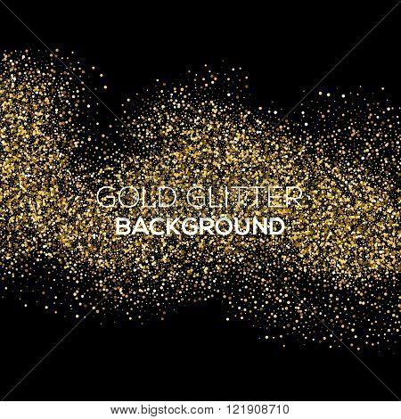Gold confetti glitter on black background. Abstract gold dust glitter background. Golden explosion o