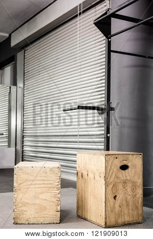 Wooden blocks at the crossfit gym