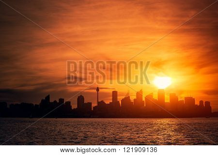 Sydney city silhouette at sunset, NSW, Australia