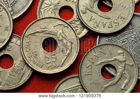 Coins of Spain. High jumper and discus thrower depicted in the Spanish 25 peseta coin dedicated to the Barcelona 1992 Summer Olympics.