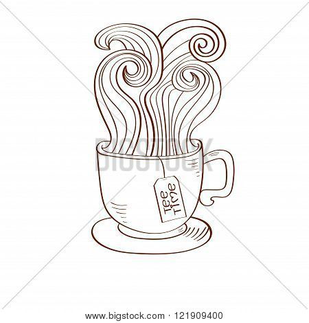 Doodle cup of tea with swirl steam and teabags label. Sketchy vector illustration.