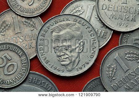 Coins of Germany. German social democratic politician Kurt Schumacher depicted in the German two Deutsche Mark coin (1979).