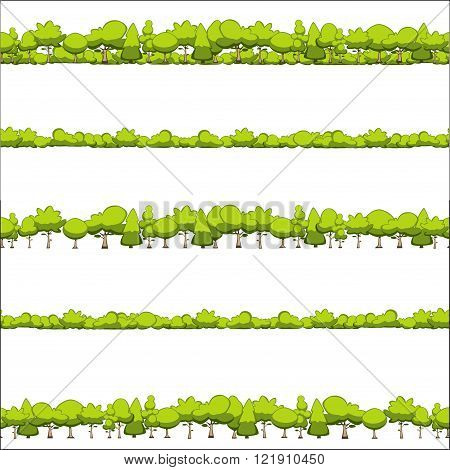seamless pattern of trees and shrubs