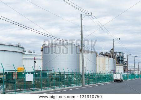 Fuel Storage Tank in industrial city