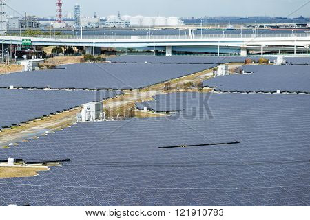 Solar panels plant in city
