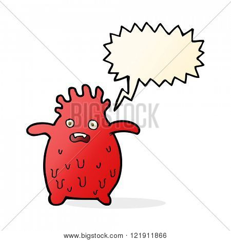 cartoon funny slime monster with speech bubble