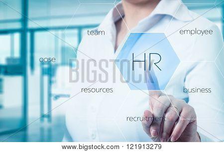businesswomen points to icon-HR recruitment and chosen concept.