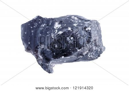 Mineral obsidian black sample on a white background