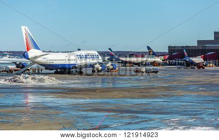 Moscow, Russia - March 22, 2012: Boeing 747 Of Transaero At The Airport Sheremetyevo