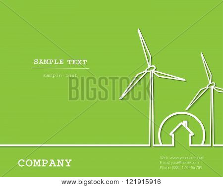 Creative vector with wind turbines house. Renewable (regenerative green) energy concept.