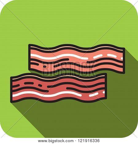 Bacon icon flat style