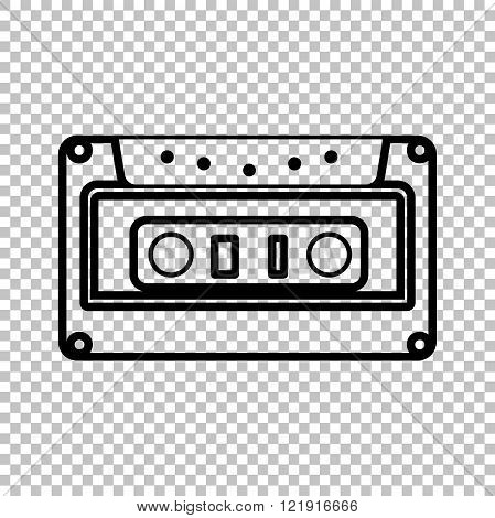 Cassette icon, audio tape sign