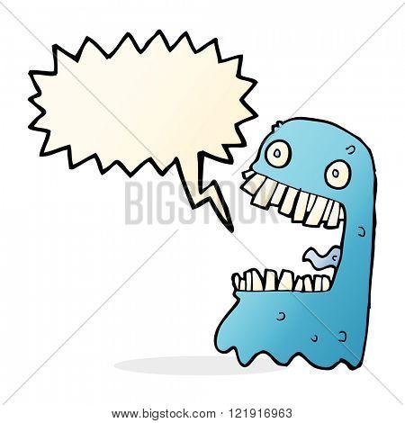 cartoon gross ghost with speech bubble