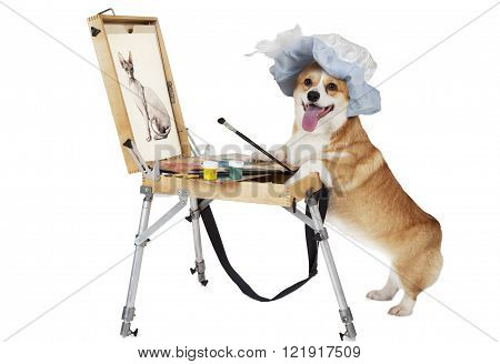 Welsh corgi Pembroke dog artist draws a cat isolated on white background