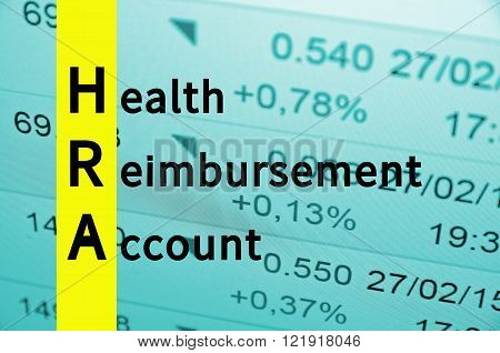 Acronym HRA as Health Reimbursement Account. The financial data visible in the background.