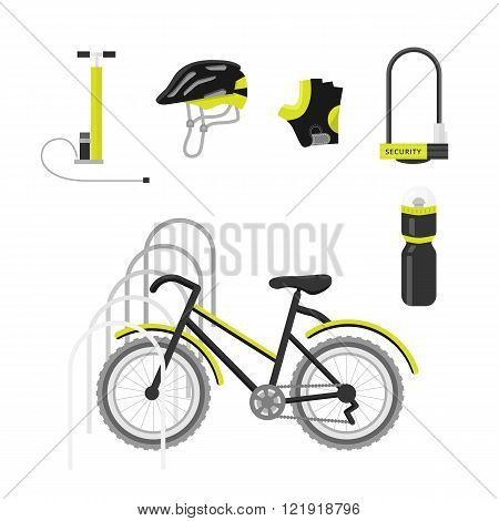 Bicycle equipment icon vector set. Bike and glove, and uniform cyclist illustration. black bike equipment icon for sport