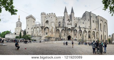 AVIGNON FRANCE - MAY 04 2015: Popes Palace is the main historical site in Provence and one of the largest and most important medieval gothic buildings in Europe