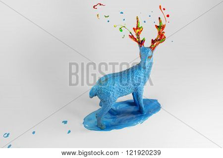 Blue paint deer standing in water pound
