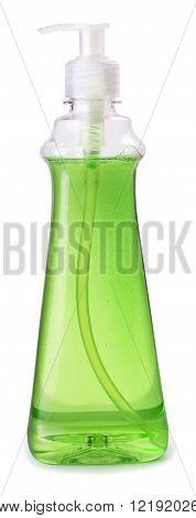 bottle of green dishwashing liquid detergent with batcher isolated on white background
