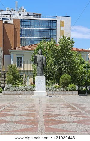 ATHENS GREECE - MAY 05: Statue of Archbishop Damaskinos in Athens on MAY 05 2015. Damaskinos Papandreou of Athens Monument at Platia Mitropoleos in Athens Greece.