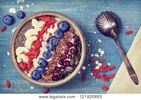 Greek yoghurt with superfoods for healthy breakfast