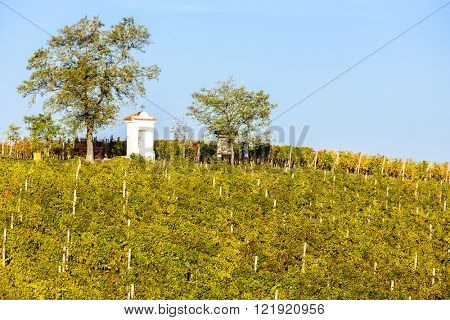 God's torture with autumnal vineyard, Modre Hory, Southern Moravia, Czech Republic