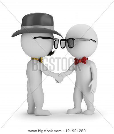3D Hipster - Handshake. 3d image. White background.