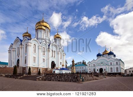 Cathedral of the Vladimir Icon of the Mother of God and the Church of Nativity Our Lady. Zadonsk Nativity of Our Lady Convent. Russia