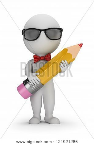 3D Hipster - Pencil. 3d image. White background.