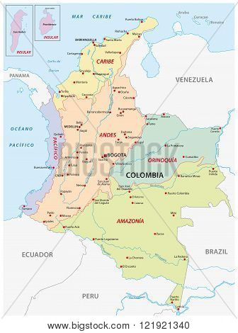 map of the natural regions of Colombia