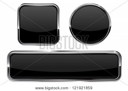 Buttons. Black shiny glass sphere and square button with metal frame. Vector illustration isolated on white background