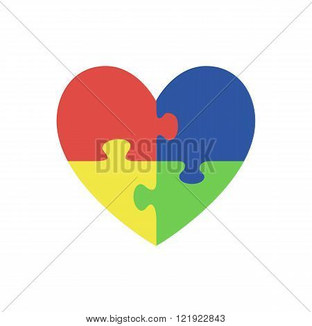 Jigsaw puzzle pieces in form of heart.