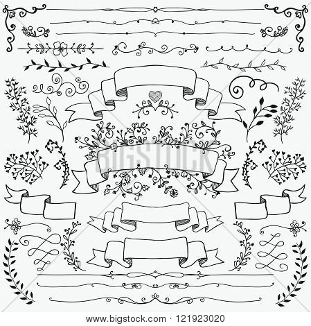Hand Drawn Floral Design Elements, Ribbons, Dividers