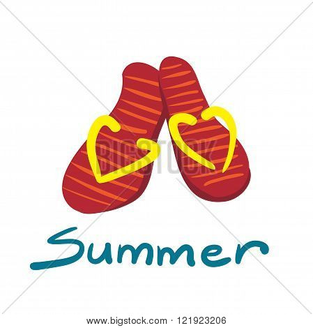 Pair of flip-flops isolated on white background. Red flip flops with yellow elements on a white background. Beach sneakers. Vector flat illustration.