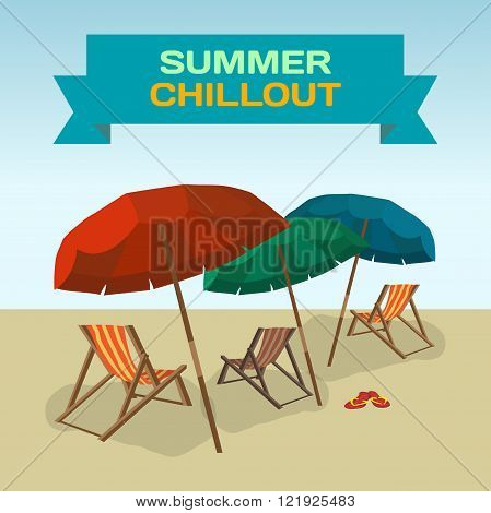 Background with sea landscape summer beach sun umbrellas beach beds. Umbrellas and deskchair on a beach in summer day vacation. Frame with inscription summer chillout. Vector flat illustration