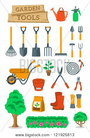Gardening and farming instruments and tools flat vector icons set. Cartoon infographic elements of agriculture equipment and plants cultivation hobby activity objects. Isolated on white
